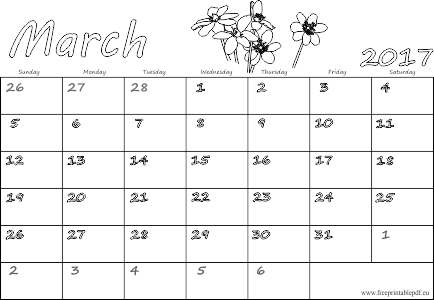 March 2017 printable sheets UK & US versions | Free Printable PDF