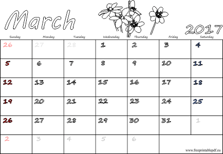 March 2017 printable sheets UK & US versions | Free ...