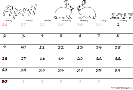 picture regarding Free Printable Calendar With Us Holidays titled April 2017 printable calendars (pdf) Cost-free Printable PDF