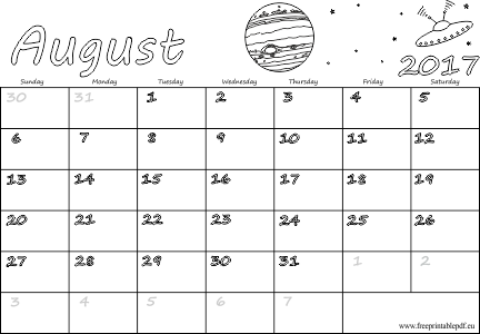 August 2017 blank pdf | Free Printable PDF