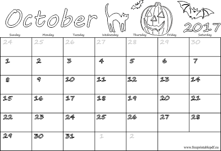 October 2017 free calendars for kids | Free Printable PDF