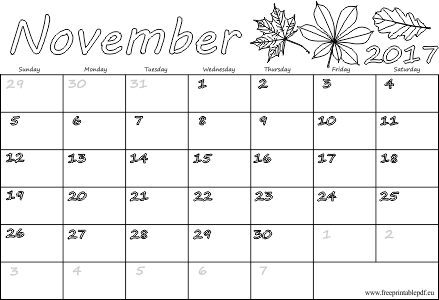 photo relating to Printable November Calendar Pdf referred to as November 2017 calendar with holiday seasons Free of charge Printable PDF