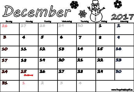 December 2017 calendars pdf | Free Printable PDF