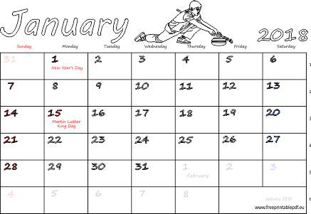 January 2018 calendar with holidays pdf | Free Printable PDF