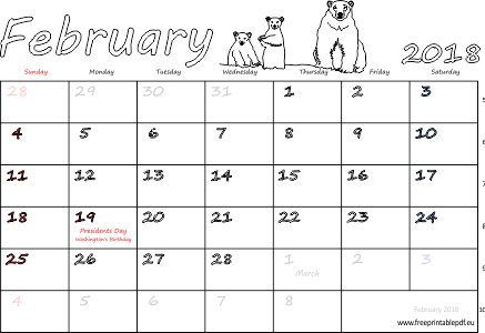 February 2018 calendar with holidays pdf | Free Printable PDF