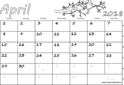 photograph regarding Calendar Printable With Holidays referred to as April 2018 calendar with holiday seasons pdf Absolutely free Printable PDF