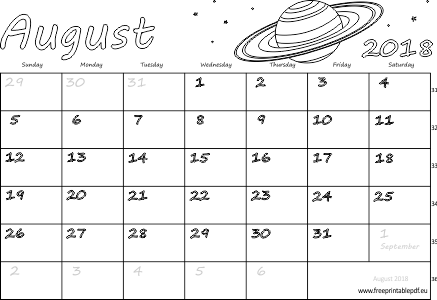 August 2018 monthly calendar (blank, US & UK) | Free Printable PDF Free Printable PDF