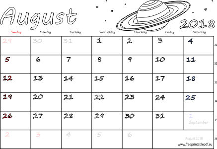 picture about Free Printable Calendar With Us Holidays named August 2018 month to month calendar (blank, US United kingdom) Totally free