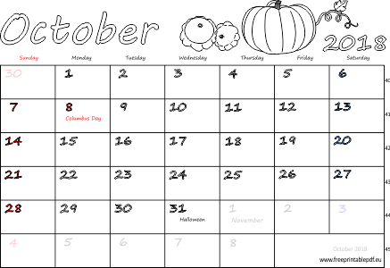 photograph relating to Free Printable Monthly Calendar With Holidays named Oct 2018 every month calendar (blank, US United kingdom) No cost