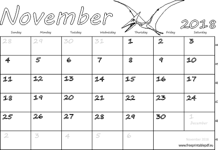 photo relating to Printable November Calendar Pdf called November 2018 month-to-month calendar (blank, US United kingdom) Absolutely free