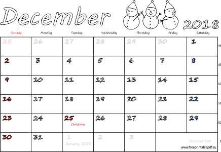 photo about Free Printable Monthly Calendar With Holidays known as December 2018 month to month calendar (blank, US British isles) Free of charge