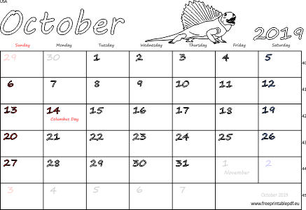 image about Free Printable Calendar With Us Holidays referred to as Oct 2019 United states Calendar Totally free Printable PDF
