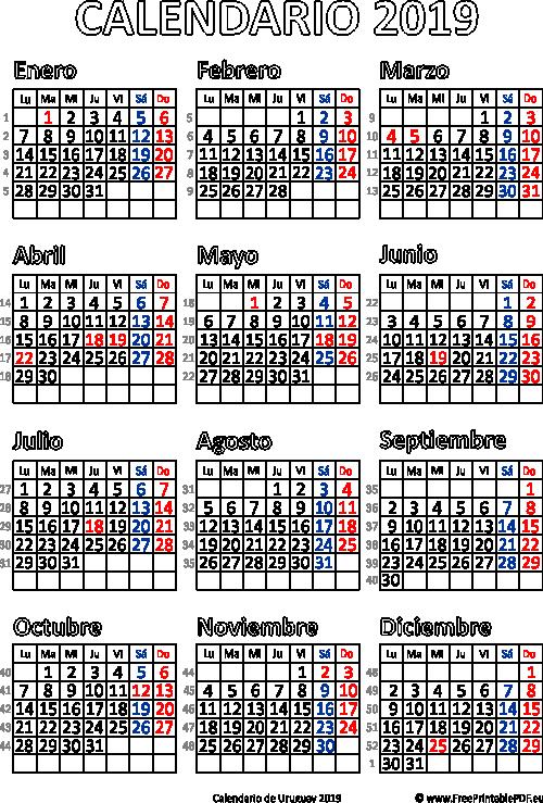 calendario de uruguay 2019