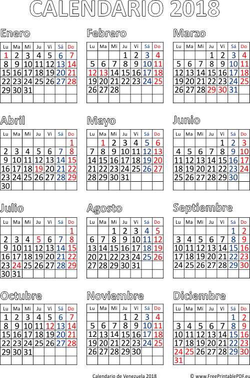 Calendario de Venezuela 2018 | Imprimir el PDF Gratis