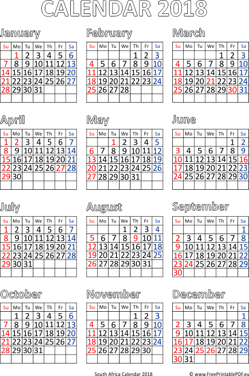 Calendar for Year 2018 South Africa | Free Printable PDF